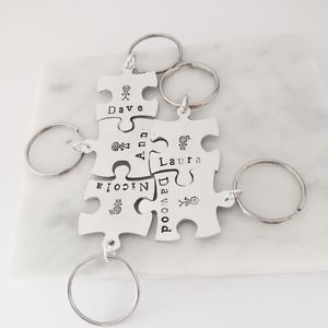 Personalised Family Puzzle Piece Keyring Set - mens