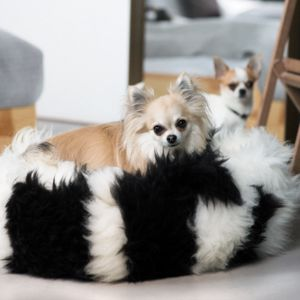Black And White Sheepskin Pet Bed