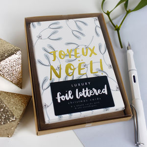 Foiled 'Joyeux Noel' Christmas Card Pack - christmas card packs