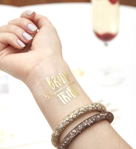 Gold Flash Arrow Bride Tribe Hen Do Tattoo - hen party styling