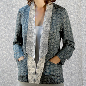 Tuxedo Style Jacket In Japanese Starburst Print Crepe