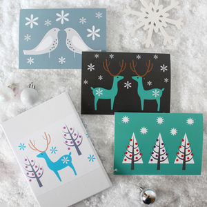 Set Of Nine Scandi Xmas Cards - cards