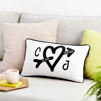 Personalised Heart Valentine's Day Boudoir Cushion