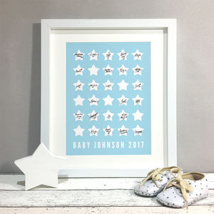 Stars Personalised Baby Shower Guest Book Print