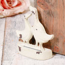 Duck Darlings Distressed Ivory Cast Iron Door Stop