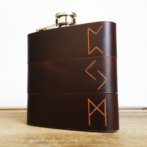 Personalised Viking Rune Leather Hip Flask