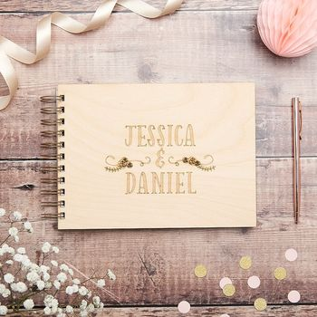 Personalised Floral Swirl Wedding Guest Book