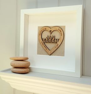 Personalised Mrs And Mrs Oak Heart Artwork