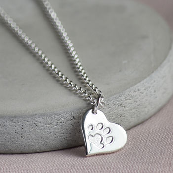 Your Pets Paw Print Silver Heart Necklace