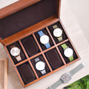 Personalised Leather Watch Box Large - watch storage