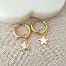 Gold Star Huggie Hoops