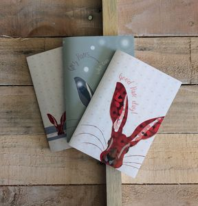 Set Of Three Pocket Hare Notebooks