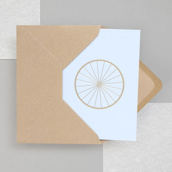 Luxury Handprinted Bicycle Print Card In Brass And Blue