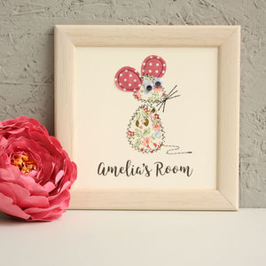 Personalised Baby Mouse Embroidered Plaque - pictures & prints for children