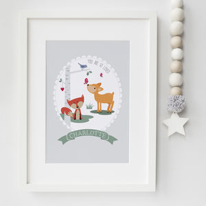 'You Are So Loved' Personalised Woodland Nursery Print - children's room