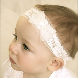 Tabitha Ivory Baby Christening / Flower Girl Headband - christening wear