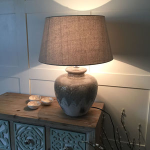 Olive Grey Part Glazed Ceramic Table Lamp - lighting