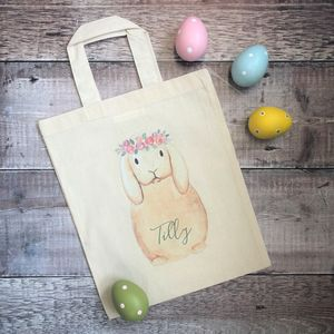 Personalised Flower Crown Bunny Easter Hunt Bag