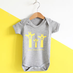 Giraffe Family, Personalised Baby Grow - babygrows