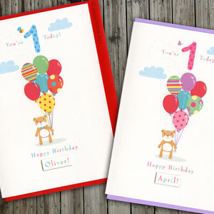 First Birthday Or Choose Your Age Bear Card - birthday cards