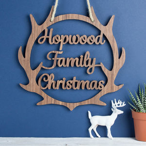 Personalised Christmas Wooden Wreath Antlers - wreaths