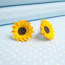 Sunflower Stud Or Clip On Earrings