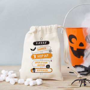 Halloween Signpost Trick Or Treat Bag With Sweet Option - personalised