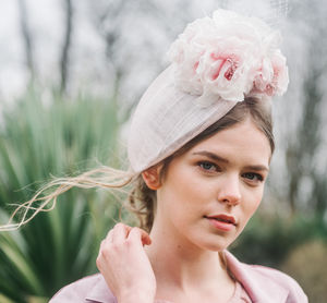Nude Pink Floral Womens Occasion Hat Hat ' Bleujen' - hats & fascinators