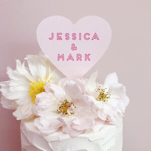 Personalised Heart Shape Wedding Cake Topper