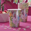 Tropical Iridescent Foiled Paper Party Cups