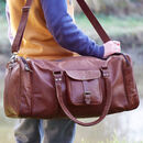 Personalised Leather Holdall With Zipped Pockets