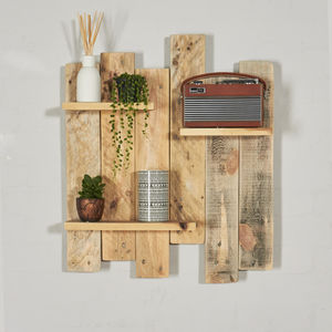 Reclaimed Industrial Pallet Staggered Wooden Shelves - shelves