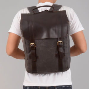 Waxed Canvas Backpack With Leather Flap