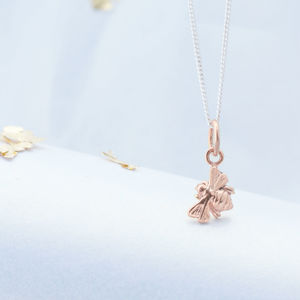 Delicate Silver And 22ct Rose Gold Vermeil Bee Necklace