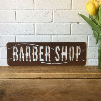Rusted Barbershop Barbers Silhouette Sign