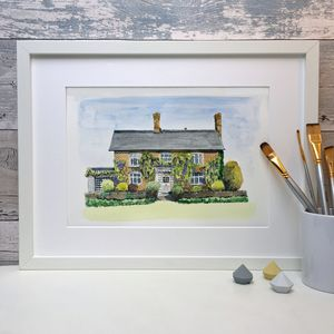 Personalised Line And Wash Watercolour House Portrait - paintings