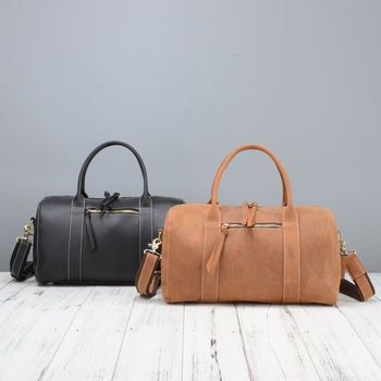 Genuine Leather Overnight Duffel Bag For Her