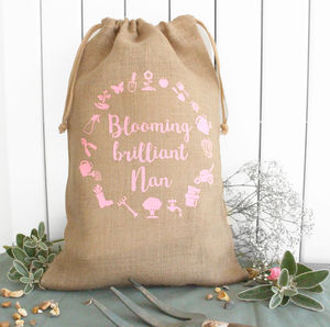 Personalised 'Blooming Brilliant' Hessian Bag - new in garden