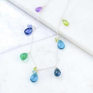 Blue Gemstone Drop Necklace - necklaces & pendants