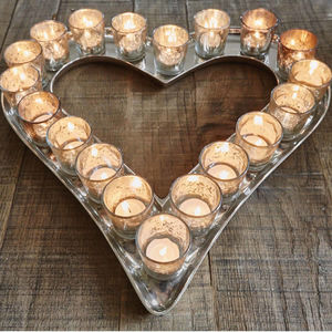 Distressed Silver Glass Heart Votive Tray - outdoor decorations