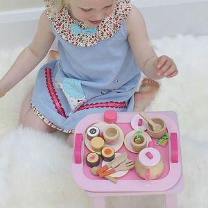 Pink Wooden Tea Party Play Set - toys & games