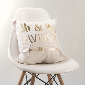 Personalised Gold Wedding Couple Cushion - cushions