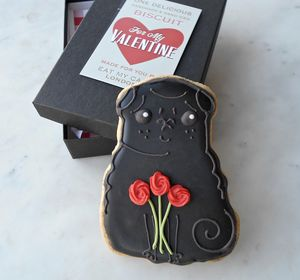 Black Valentine Pug Biscuit - gifts for him