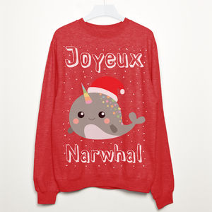 Joyeux Narwhal Christmas Sweatshirt - christmas jumpers
