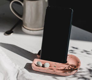 Terrazzo Phone Stand And Trinket Tray