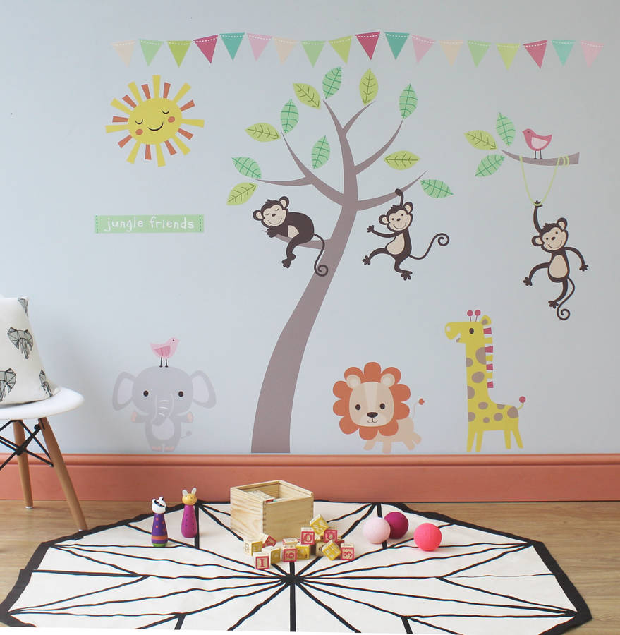 Pastel Jungle Animal Wall Stickers By Parkins Interiors - Wall stickers for bedroom
