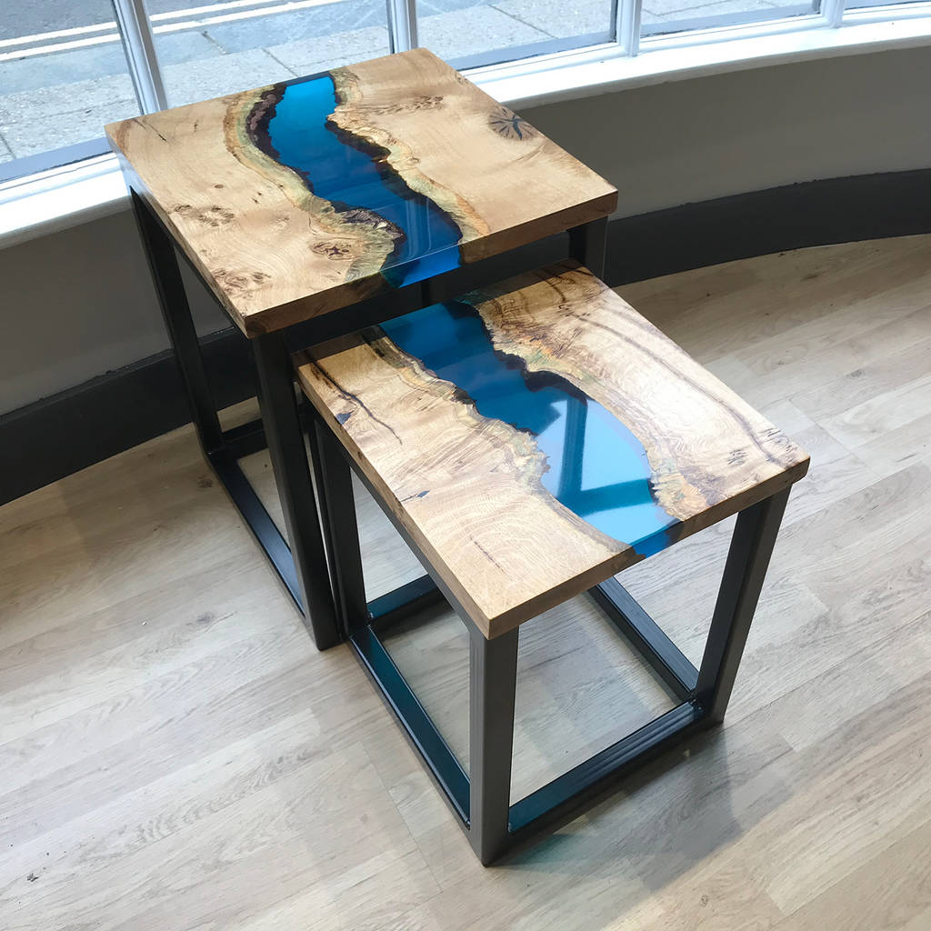 Resin River Stacking Side Tables By Revive Joinery