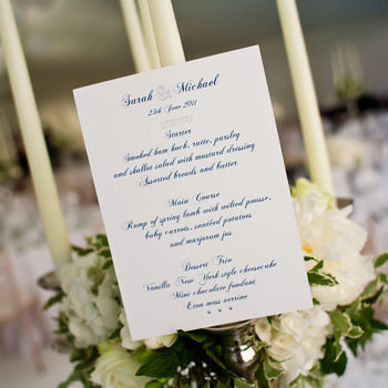 Bespoke Table Menu