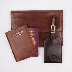 Personalised Luxury Leather Travel Set - personalised gifts for him