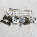 Personalised Sewing And Knitting Kilt Pin Brooch